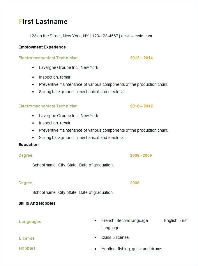Free Resume Templates Basic Resume Examples Office Sample resume
