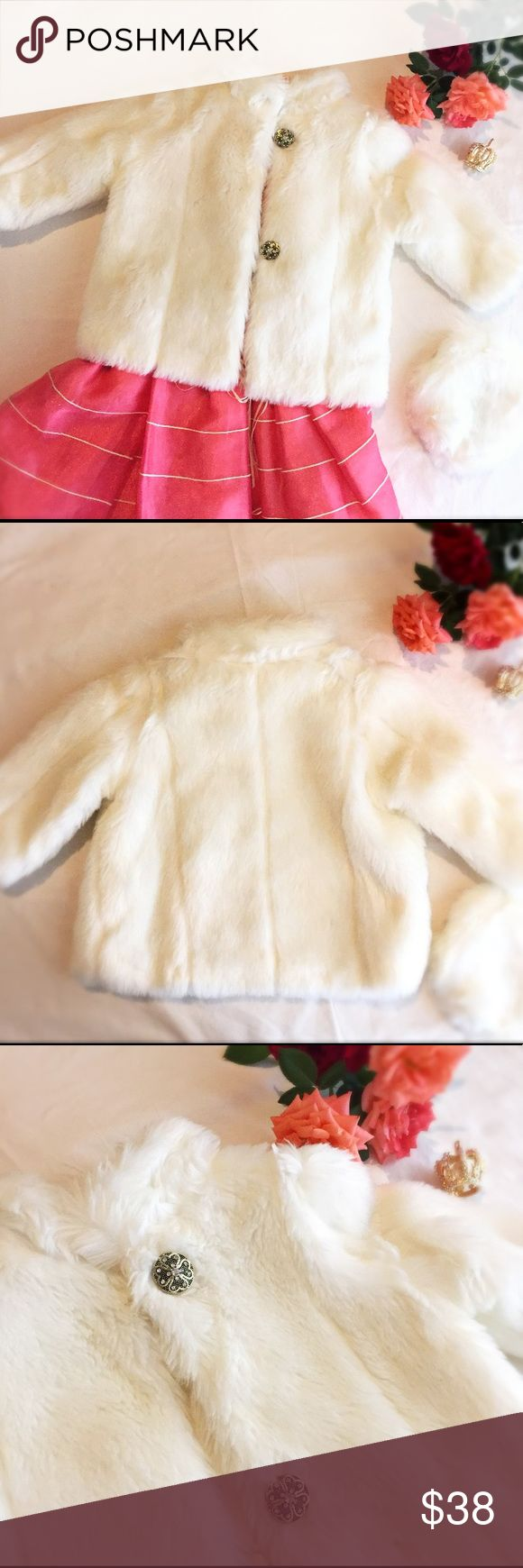 """Furry White Toddler Girls Coat Size 2. Furry White Toddler Girls Coat Size 2. Super soft furry coat with fancy buttons. Includes an adjustable hat of the same coat's material. 100% polyester and approximately 15 1/2"""" length and width and 12"""" sleeve's length. Jackets & Coats"""