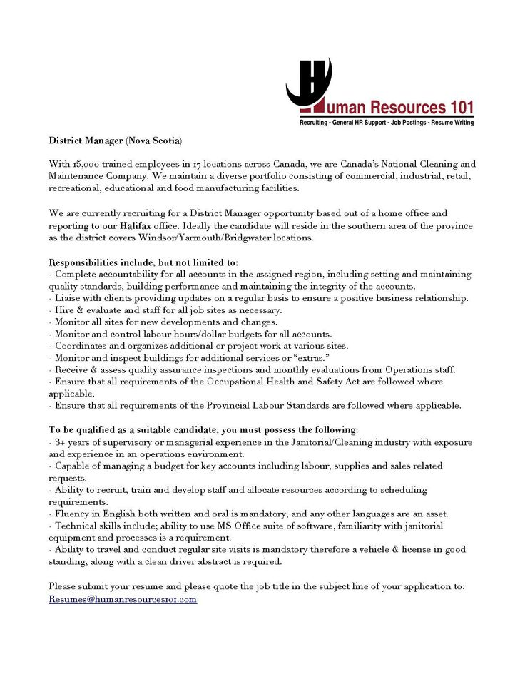 Human Resources 101 (HR101jobs) on Pinterest - janitorial resume skills