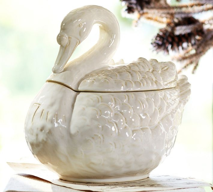 Seven Swans Swimming Soup Tureen Soup Tureen Covered