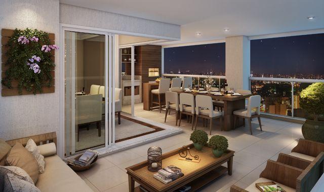 Se você tem um apartamento com varanda grande, aproveite ao máximo seu espaço e crie diversos ambientes diferentes: espaço de refeições, sala de visita…