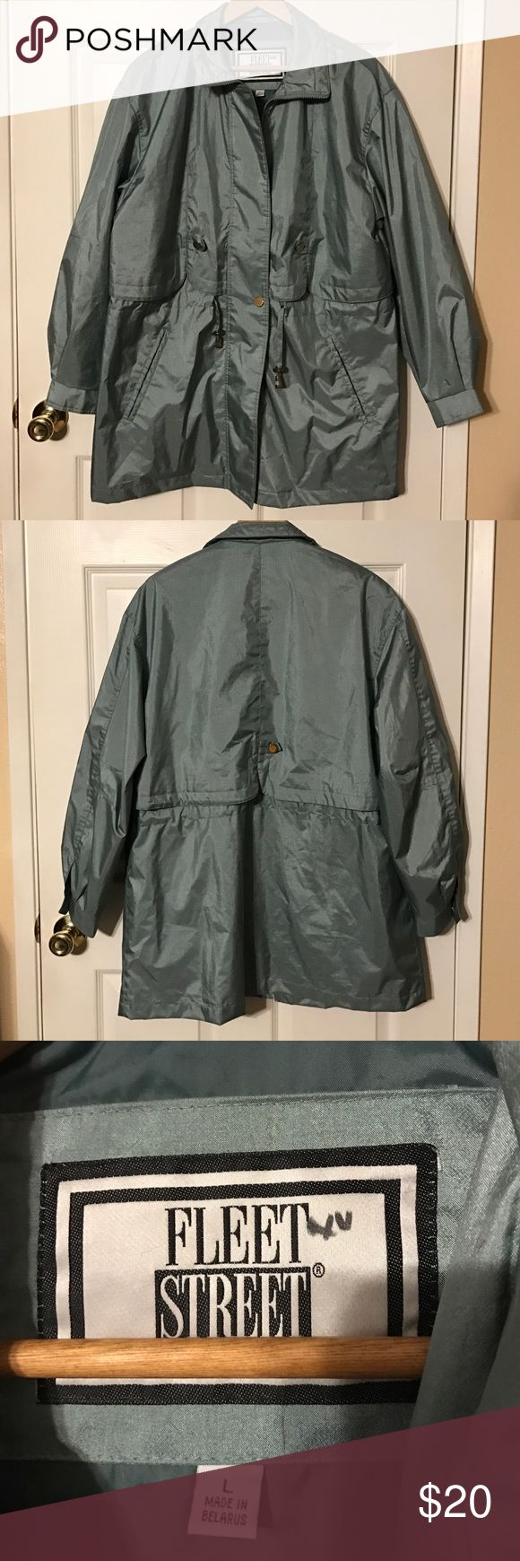 Mint/ sage green women's lightweight jacket Beautiful lightweight rain coat in a beautiful spring color. Mint/ sage like color, that has a metallic sheen to it. Has a waist draw string and two hand pockets. fleet street Jackets & Coats Trench Coats