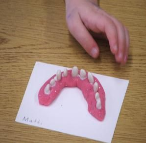 Dental health...pink playdoh and white beans