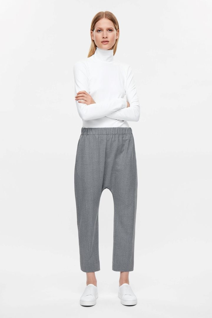 COS image 6 of Drop-crotch wool trousers in Grey