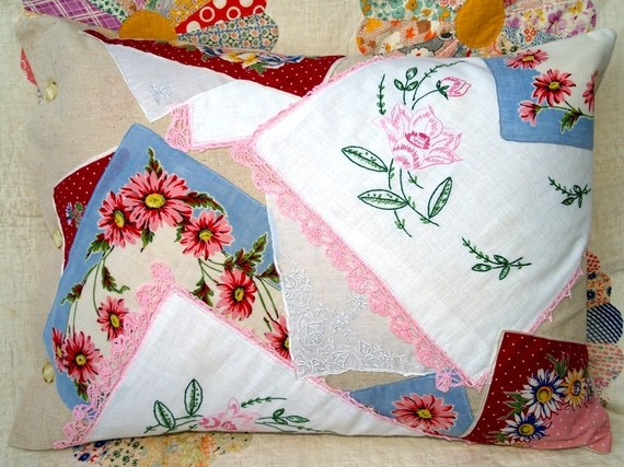 Pillowcase made from recycled linens.