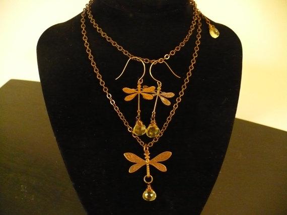 DragonFly Vintaj Brass Necklace with by TaraNicoleTreasures, $49.95