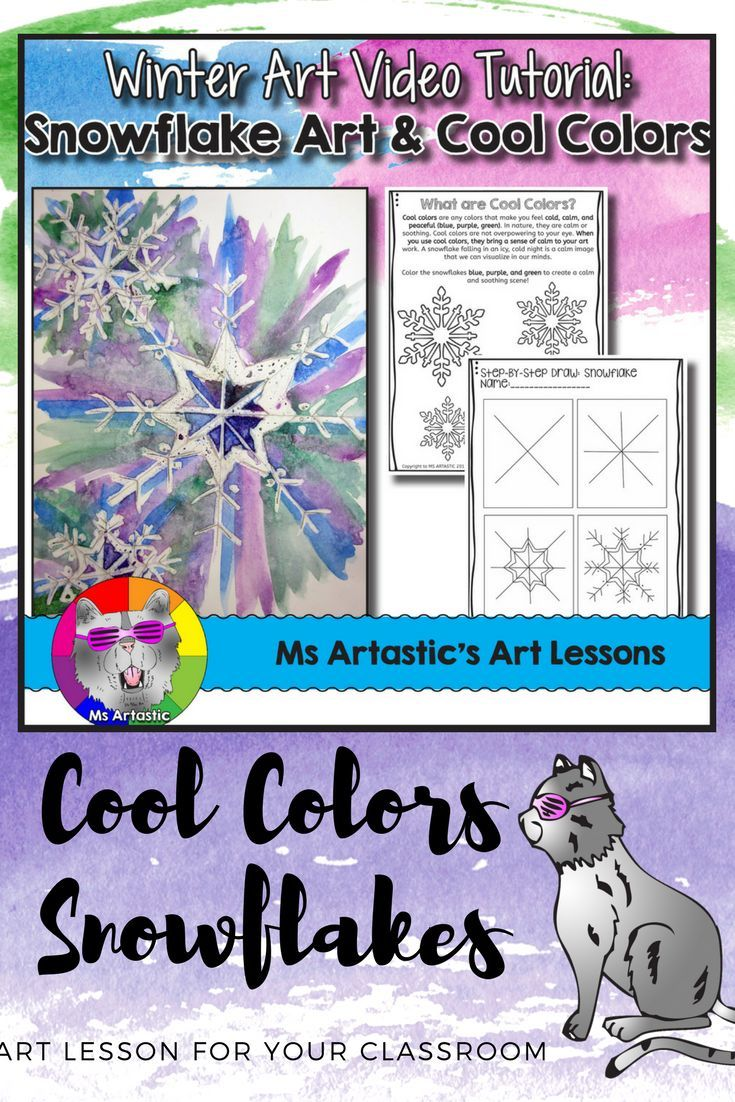 The snow is falling! Create a winter, snowflake art project with your students and learn about cool colors! This product includes both an instructional video that shows the creation and steps of making this art piece from start to finish, as well in its supporting documents includes the Snowflake Step-By Step handout, a poster EXAMPLE to show your students before they begin, a rubric, and a two-page lesson plan, cool colors worksheets and 3 cool colors posters! This is the complete deal!