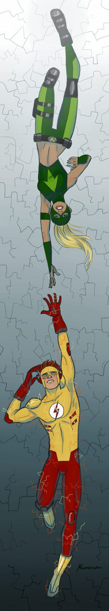 Wally and Artemis falling ...down....down...down