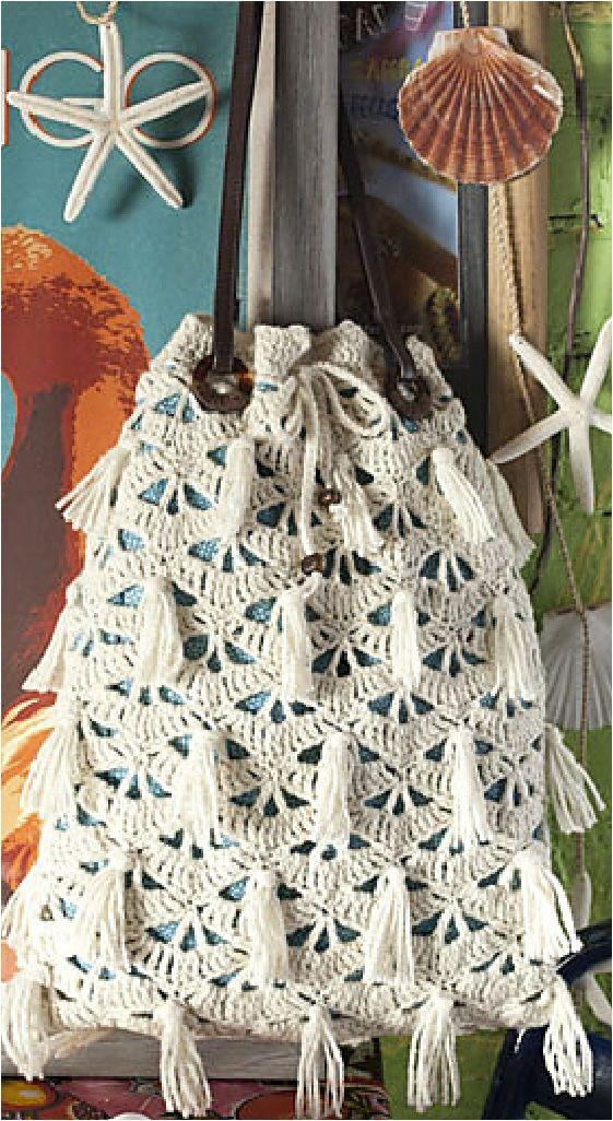 Outstanding Crochet: Mary Jane Hall's Drawstring Bag in Vogue Knitting Crochet 2013