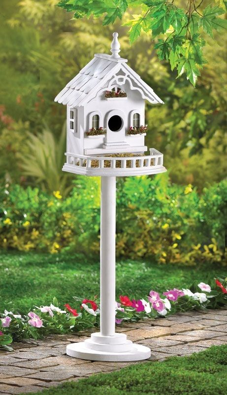 White Wood Victorian Birdhouse and Seed Feeder on Pedestal Pole 1600 at Critter Creek Ranch