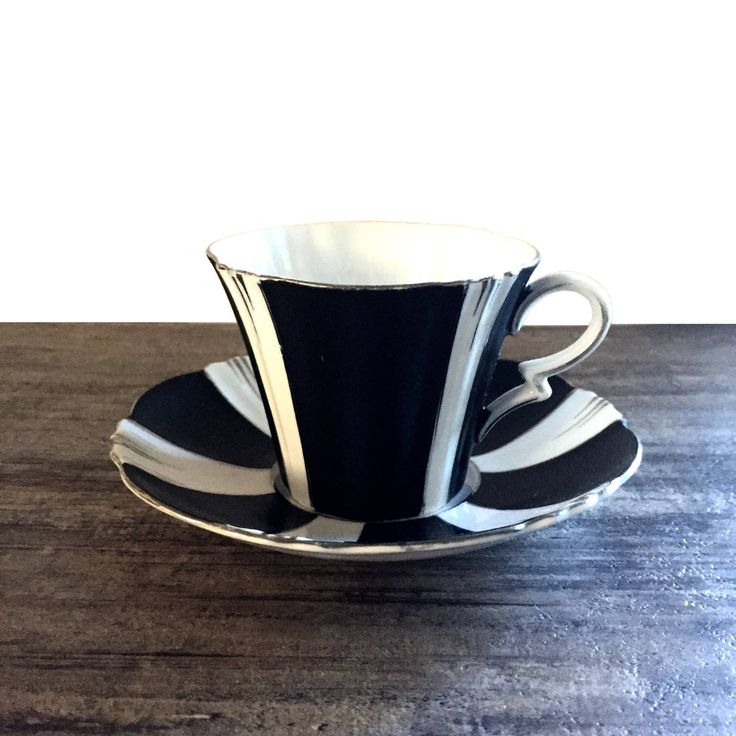 Royal Albert Tea cup and saucer, vintage black and white striped teacup #Teacup #Teacupandsaucer #Collectible #Vintage #VintageTeacup #RoyalAlbert #Victorian #Gothic