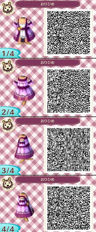 Animal Crossing New Leaf QR codes ありひめ purple dress