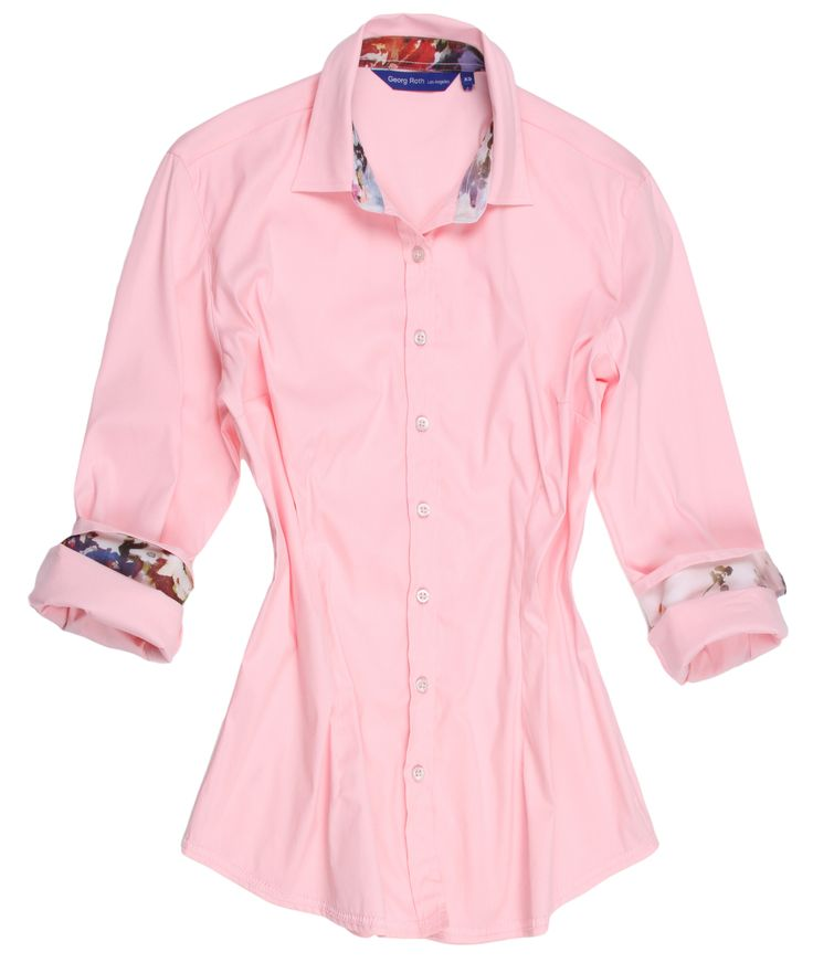 """Pretty in Pink and gorgeous in a Georg Roth shirt!  So delicate and feminine you can't help but love the way you look in our """"Tammy"""".  The companion print on the collar stand and cuffs adds originality and embellishes """"Tammy"""" to a tee.  This is definitely simplicity at it's finest and is great with so many pants or jeans for anytime of day or evening.  Looks great with jewelry or a favorite scarf to dress it up.  Treat yourself to this  dreamy look............you will be happy you did."""