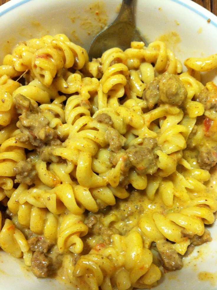Left over velveeta and rotel cheese dip, rotini pasta, taco seasoned beef and onion. Cheese dip made a nice creamy sauce for this delicious pasta dish.
