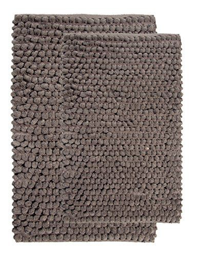 Saffron Fabs 2 Piece Bath Rug Set Cotton And Microfiber Size 34x21 Inch 36x24 Round Loop Bubbles Pattern Latex Spray Non Skid Backing Grey
