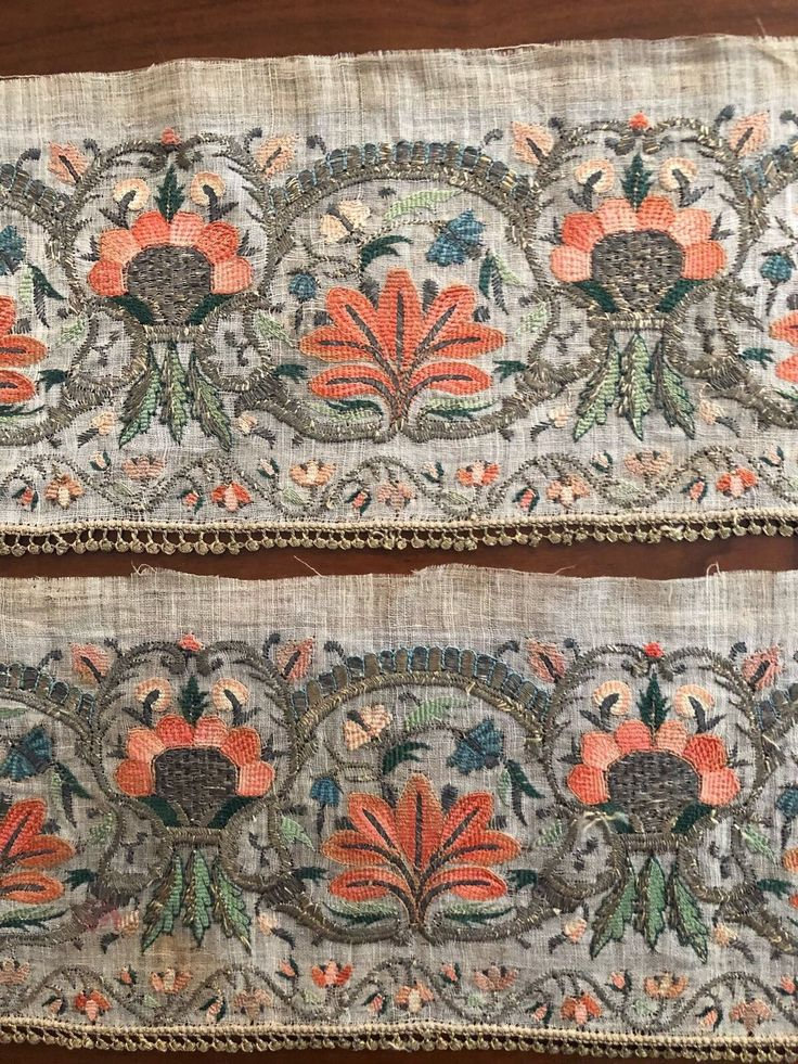 18th C ANTIQUE OTTOMAN-TURKISH SILK &GOLD METALLIC HAND EMBROIDERY ON FINE LINEN