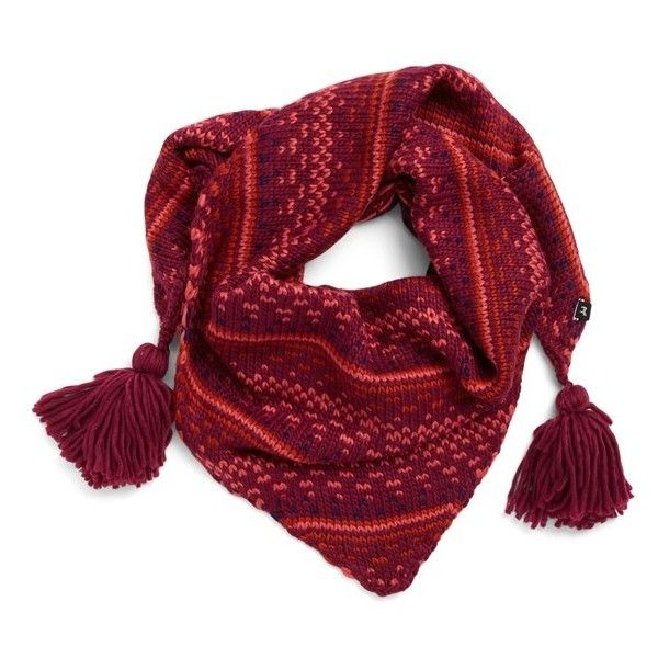 Echo Triangle Scarf (3.055 RUB) ❤ liked on Polyvore featuring accessories, scarves, berry, tassel scarves, triangle scarves, striped scarves, echo scarves and triangular shawl