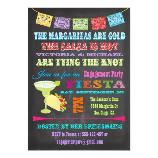 Chalkboard mexican fiesta engagement party invitation