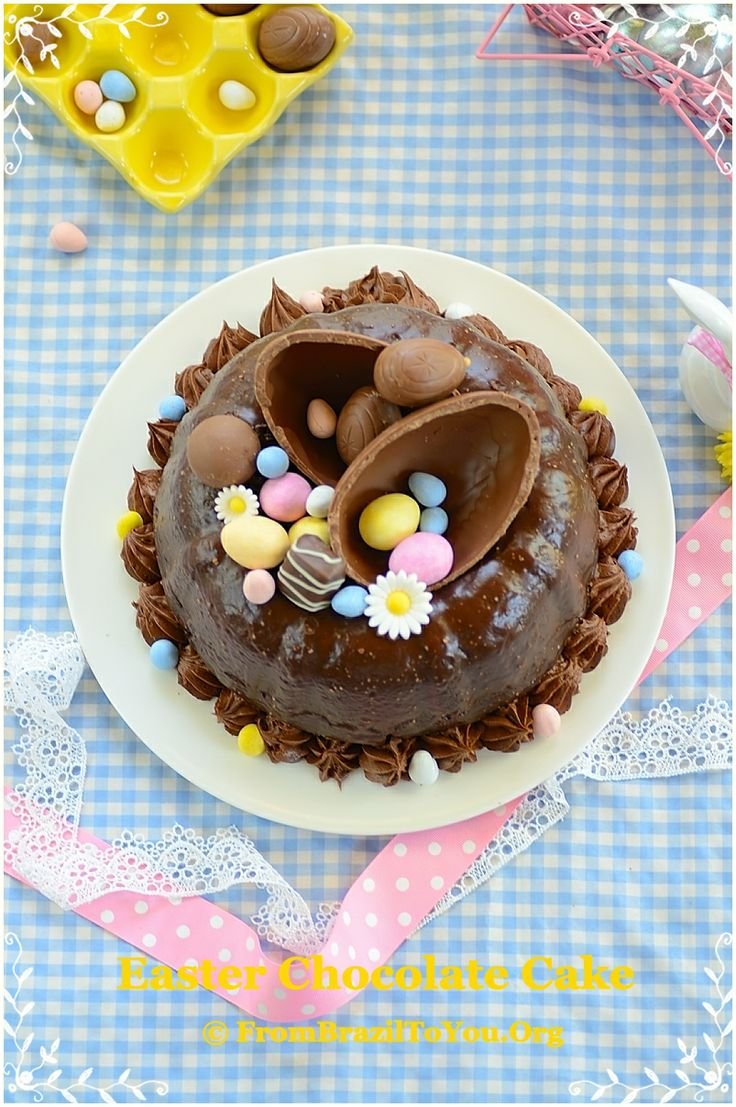 The most MOIST and decadent Chocolate Cake decorated with Easter Eggs...Happy Easter!!!!!!!!!!! #chocolate #cake #Easter