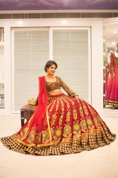 Bridal Lehengas - Red Lehenga with Panneled Embroidery with Net Dupatta and Full Sleeves Choli | WedMeGood #wedmegood #indianbride #indianwedding #lehenga #red #indianlehenga