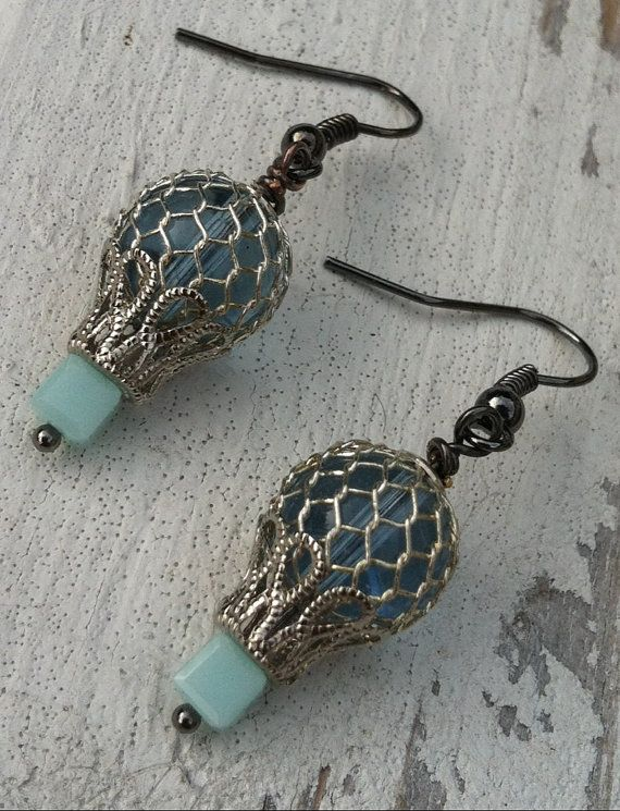 Hot Air Balloon Steampunk Earrings Nugoth EGL Victorian Jewelry Pastel Lolita Goth Sky Blue Cottage Chic Dangle Style Around the World