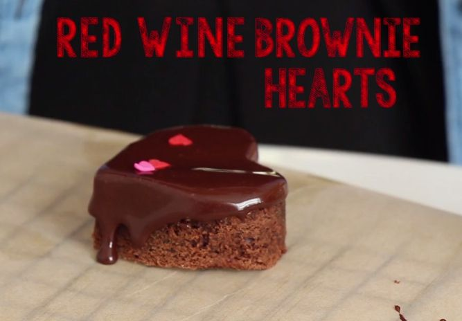 red wine brownie hearts a GALentine's day video