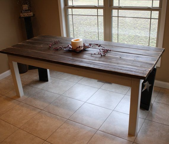 flashsale unique primtiques large primitive distressed dark walnut stained antique country white 7 ft farmhouse farm kitchen table wmatchin - Distressed White Kitchen Table