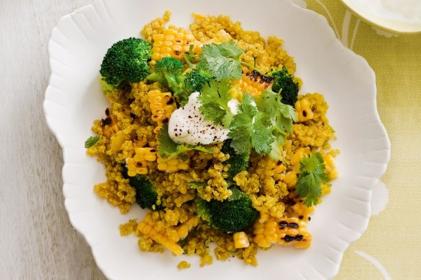 Spiced quinoa pilaf with corn and broccoli made by Team Karina at the Mt Hotham retreat