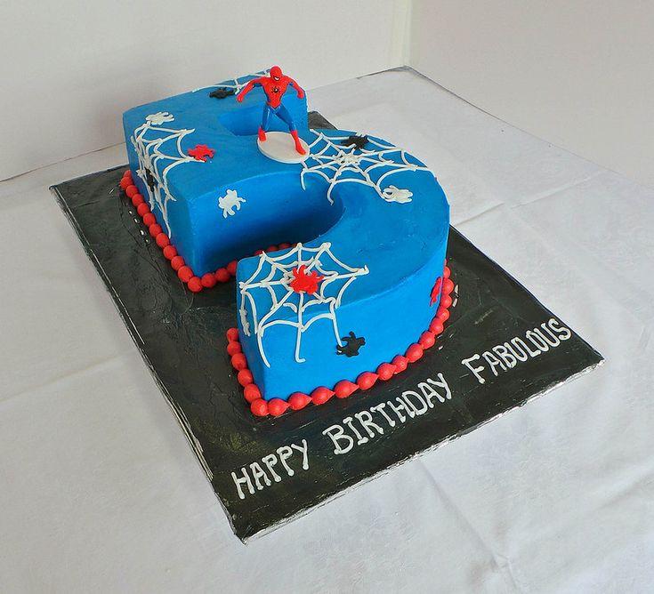 Number 5 Spiderman themed birthday cake