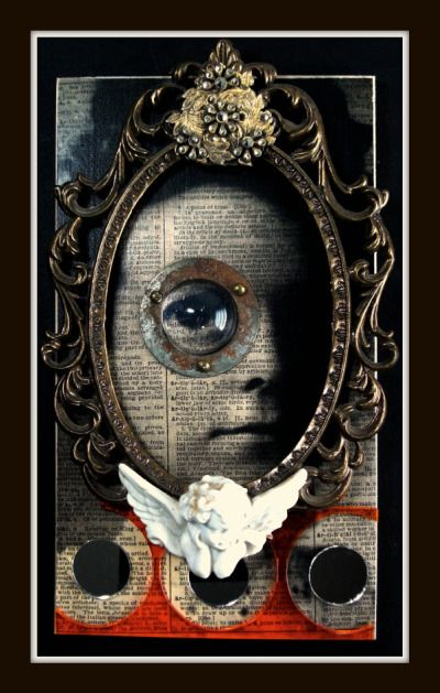 Greg Hanson creates playful mixed media collages and assemblages.