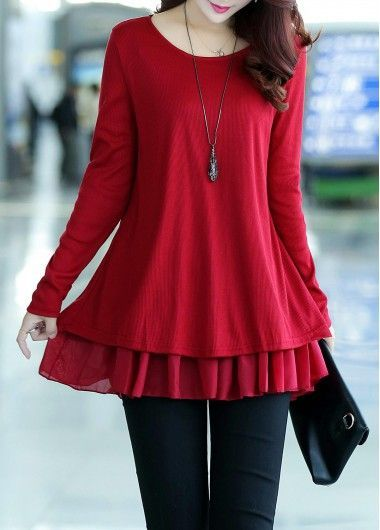 Bowknot Decorated Long Sleeve Chiffon Panel Sweater on sale only US$27.19 now, buy cheap Bowknot Decorated Long Sleeve Chiffon Panel Sweater at lulugal.com