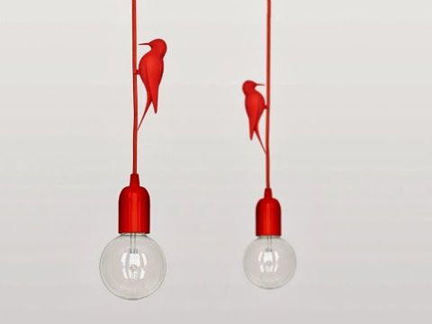 Cute 3D printed polyamide #bird on textile covered cable with high gloss #lamp holder and halogen 28-watt #light.