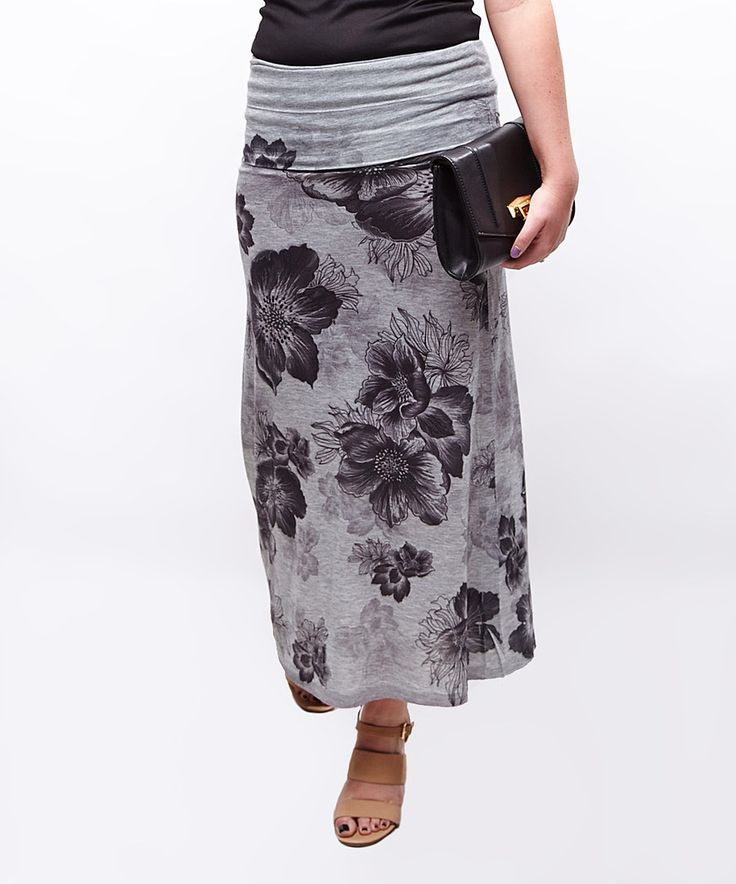 Look at this Casa Lee Gray & Black Floral Maxi Skirt on #zulily today!