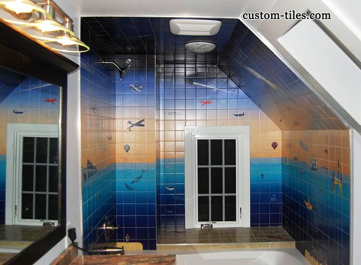 17 best images about tiles bathroom and kitchen on for Custom mural tiles