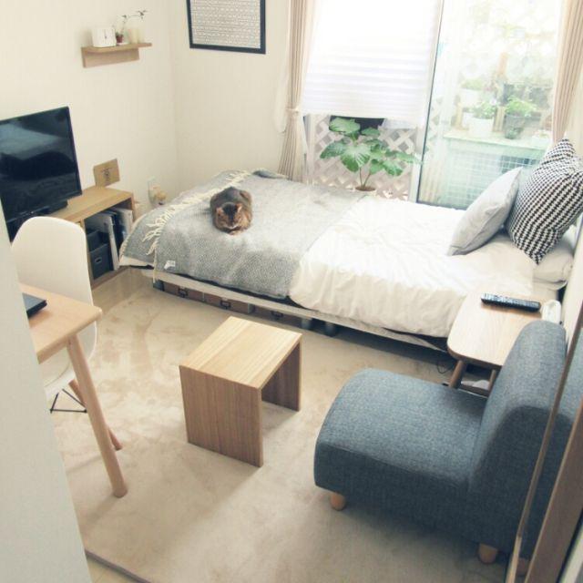 自分だけの空間が作れるせっかくの一人暮らし。ただ、寝るだけのお部屋になっていませんか?決して広いとはいえないえないワンルームのお部屋も、家具を上手にレイアウトして、もっと居心地のいいお気に入りの空間にすることができます。今回は、テイスト別にワンルームのコーディネートを学びながら、レイアウトのパターンについて見てみましょう。