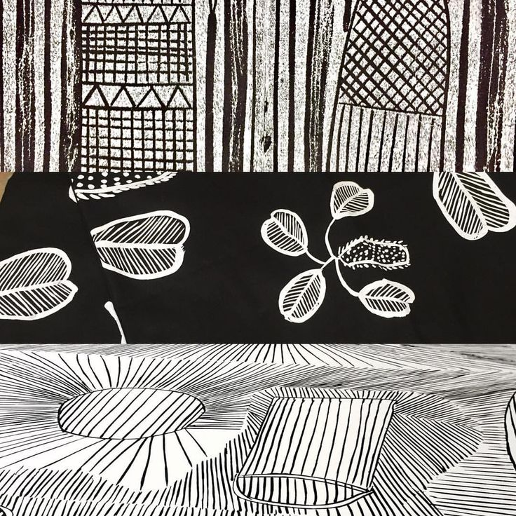 """110 Likes, 5 Comments - Babbarra Designs (@babbarradesigns) on Instagram: """"Black and white designs. Top- Lorrkon Lino cut design by Raylene Bonson. Middle- Cheeky Yams…"""""""
