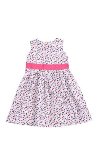 Vestido para niña estampado de florecitas en tonos de lila, fucsia, verde fosforescente y azul oscuro. Cuello redondo y sin mangas.