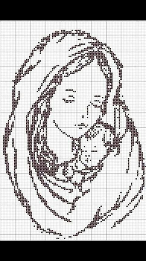 Mother and baby cross-stitch pattern ~ how beautiful this would be in an oval frame... this just speaks to me! <3