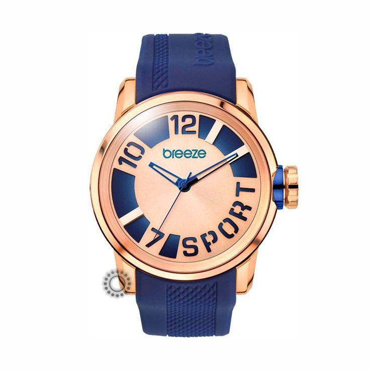 Γυναικείο fashion ρολόι BREEZE Havana Spirit 110341.2 με μπλε καουτσούκ, ροζ επίχρυσο καντράν, αδιάβροχο στα 100 μέτρα   Ρολόγια ΤΣΑΛΔΑΡΗΣ Χαλάνδρι #2015 #breeze #ρολόγια
