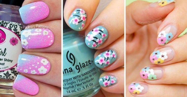 30 Diseños de uñas decoradas con flores
