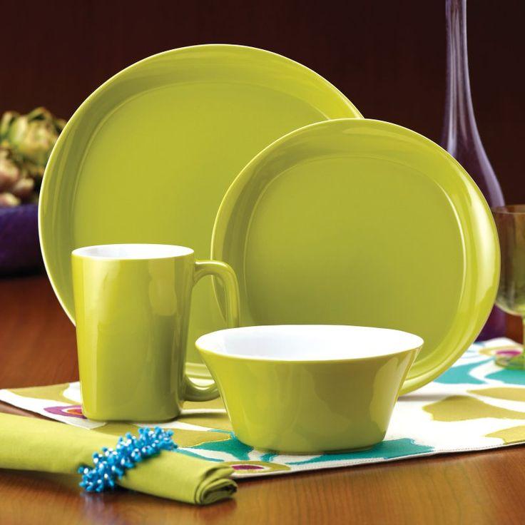 Rachael Ray Round and Square Green Dinnerware - Set of 4 - 58147
