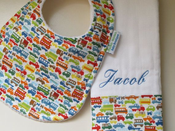 Personalized Monogrammed Baby Bib and Burp Cloth Set - Baby Boy Set
