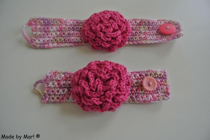 Gehaakte rozen armbanden