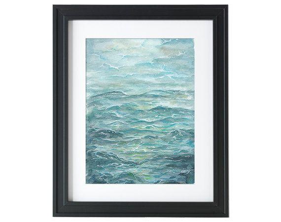 Ocean wave  Print  Watercolor Wall Art  Wall Decor by songhillpics