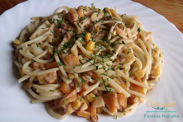Lencsés, kukoricás spagetti