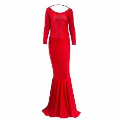 Ladies Red Summer Fishtail Dress Open Back Long Sleeve Bodycon Dress Cheap Party Dresses