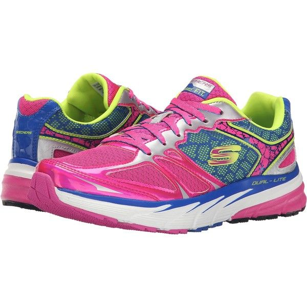 SKECHERS Optimus (Pink/Blue) Women's  Shoes ($52) ❤ liked on Polyvore featuring shoes, athletic shoes, pink, skechers shoes, polish shoes, lightweight shoes, skechers footwear and pink metallic shoes