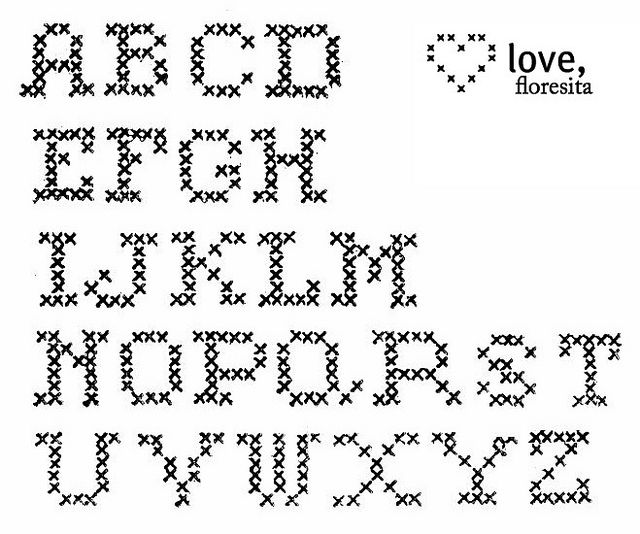 cross stitch alphabet by floresita's transfers, via Flickr
