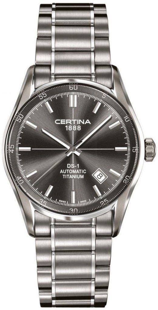 Certina Watch DS-1 Index Automatic #bezel-fixed #bracelet-strap-titanium #brand-certina #case-material-titanium #case-width-39mm #date-yes #delivery-timescale-7-10-days #dial-colour-grey #gender-mens #luxury #movement-automatic #official-stockist-for-certina-watches #packaging-certina-watch-packaging #style-dress #subcat-ds-1 #supplier-model-no-c006-407-44-081-00 #warranty-certina-official-2-year-guarantee #water-resistant-100m
