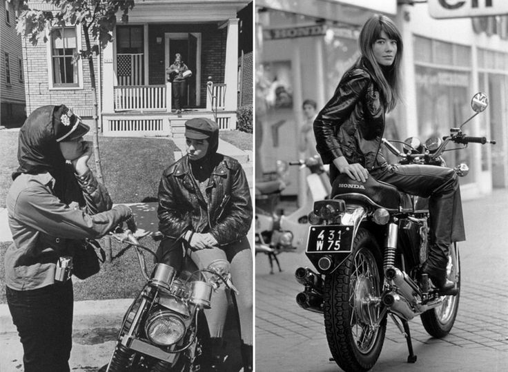 """(L) """"Memorial Day run, Milwaukee"""" from The Bikeriders by Danny Lyon, 1965. (R) Francoise Hardy, 1969."""
